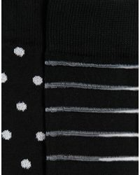 ASOS | Black Socks 2 Pack With Sheer Stripes And Glitter Polka Dots | Lyst