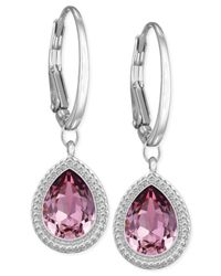 Swarovski | Rhodium-plated Pink Crystal Drop Earrings | Lyst