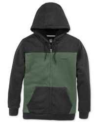 Volcom Black The Logan Line Sherpa-Lined Hoodie for men