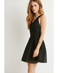 Forever 21 - Black Textured Fit & Flare Dress - Lyst