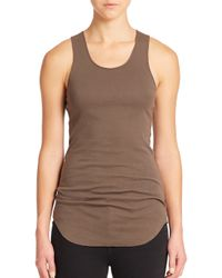 Helmut Lang - Brown Cotton Ribbed Racerback Tank - Lyst