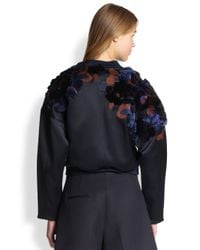 3.1 Phillip Lim Blue Embroidered Cropped Bomber Jacket