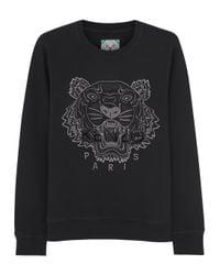 KENZO Black Tiger Embroidered Cotton Sweatshirt for men