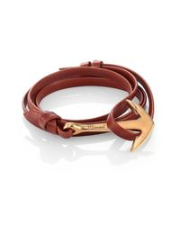 Miansai | Brown Anchor Leather Bracelet/matte Goldtone for Men | Lyst
