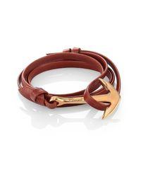 Miansai - Brown Anchor Leather Bracelet/matte Goldtone for Men - Lyst
