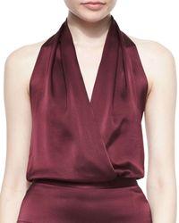 Tamara Mellon - Purple Halter Faux-wrap Blouson Bodysuit - Lyst