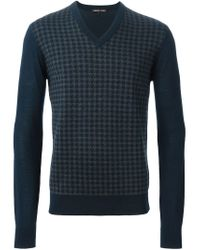Michael Kors - Blue Houndstooth Sweater for Men - Lyst