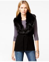 Guess | Black Faux-fur Sweater Vest | Lyst