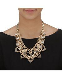 Palmbeach Jewelry - White Marquise-cut Crystal Geometric Statement Bib Necklace With Chain Accents In Gold Tone - Lyst