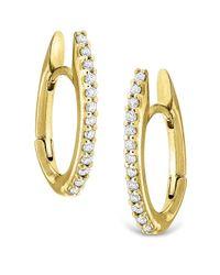 KC Designs - Metallic 14k Gold And Diamond Oval Shape Hoop Earrings - Lyst