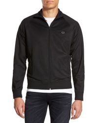 Fred Perry | Black Zip Front Raglan Track Jacket for Men | Lyst