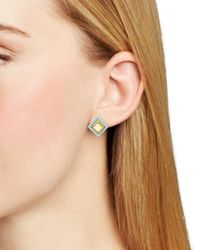 Marc By Marc Jacobs Blue Kandi Gems Square Stud Earrings