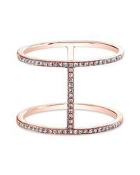 Anne Sisteron | Pink 14kt Rose Gold Diamond H Trois Ring | Lyst