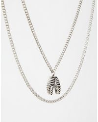 ASOS - Metallic Ribcage Necklace Pack for Men - Lyst