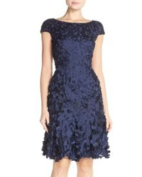 THEIA Blue Petal Applique Fit-and-Flare Dress