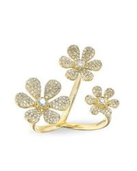 Anne Sisteron | Metallic 14kt Yellow Gold Diamond Floating Triple Daisy Flower Ring | Lyst
