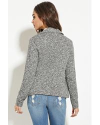 Forever 21 - Gray Marled Knit Moto Jacket - Lyst