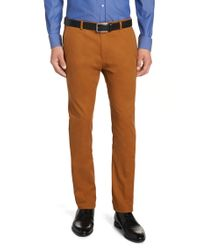HUGO | Brown Tapered-fit Chinos In Cotton Blend: 'helgo' for Men | Lyst