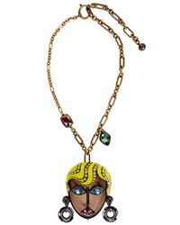 Lanvin - Metallic Blonde Face Brass Necklace - Lyst