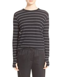 Enza Costa | Black Stripe Cotton & Cashmere Tee | Lyst