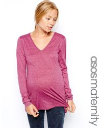 ASOS - Pink Asos Maternity Top With Long Sleeves And V Neck - Lyst