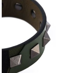 Valentino | Green 'Rockstud' Camouflage Bracelet for Men | Lyst