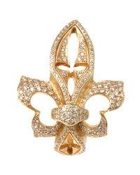 Loree Rodkin | Yellow Gold Sideways Fleur De Lis Ring with White | Lyst