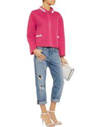 Love Moschino Pink Embellished Neoprene Jacket