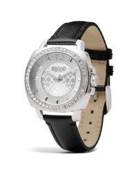 COACH Metallic Mini Boyfriend Stainless Steel Crystal Strap Watch