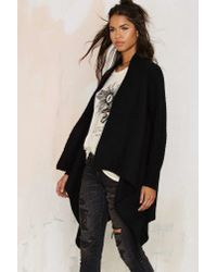 Nasty Gal - Black Cold Front Drape Cardigan - Lyst