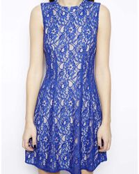 Oasis - Blue High Neck Lace Dress - Lyst