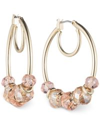 Nine West | Metallic Bead Click-it Hoop Earrings | Lyst