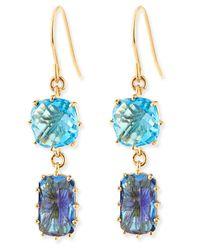 KALAN by Suzanne Kalan - 14K Yellow Gold Wire Double-Drop Earrings In Blue Topaz - Lyst