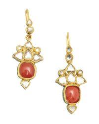Amrapali | Pink Coral And Diamond 'Jarokha' Earrings | Lyst