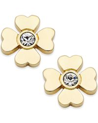 kate spade new york | Metallic Gold-tone Four Leaf Clover Stud Earrings | Lyst
