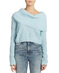 Guess | Blue Cropped Cowlneck Sweater | Lyst