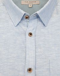 Ted Baker Blue Farewel Classic Linen Blend Shirt for men