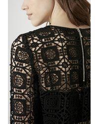 TOPSHOP   Black 3/4 Sleeve Crochet Top   Lyst