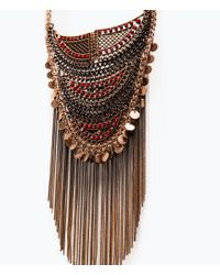Zara | Multicolor Mesh Necklace With Chains And Beads | Lyst