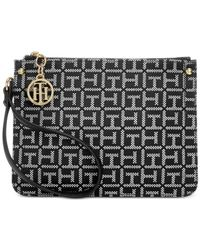 Tommy Hilfiger | Black Lucky Charm Monogram Jacquard Small Wristlet | Lyst