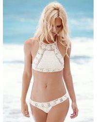 Free People | White Daisy Cheeky Bottom Daisy Crop Bikini Top | Lyst