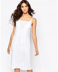 Aka - Low Back Cami Midi Dress - White - Lyst