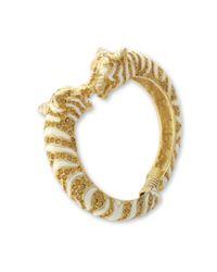 Kenneth Jay Lane | Metallic White And Topaz Tiger Bracelet | Lyst