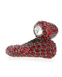 Kenneth Jay Lane | Red Gunmetal Crystal Hinge Bracelet | Lyst