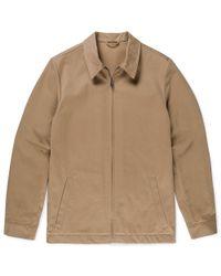 Sunspel Brown Men's Cotton Twill Harrington Jacket