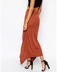 ASOS Brown Maxi Skirt With Knot Front