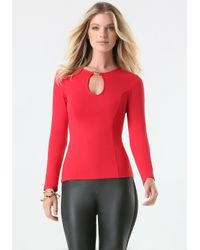 Bebe | Red Keyhole Top | Lyst