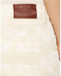 Lauren by Ralph Lauren White Slimming Modern Skinny Patterned Corduroy Pants