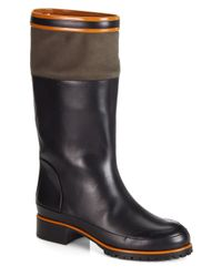 Chloé - Black Striped Leather Knee-high Boots - Lyst