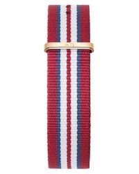 Daniel Wellington Red 'classic Exeter' 20mm Nato Watch Strap